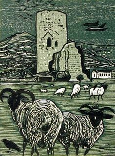 'Tretower, Powys, Wales' by Rigby Graham (woodcut)