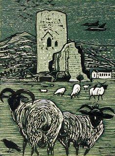 'Tretower, Powys, Wales' by Rigby Graham (woodcut)