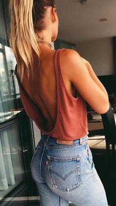 high waist jeans + open back cami top