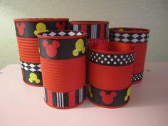 Conjunto de 4 MICKEY MOUSE latas decoradas en por partiesgalore