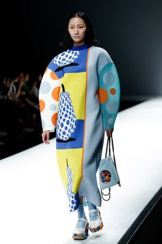 A model showcases designs on the runway at Zhenjiang University of Science and Technology School of Apparel Design Graduates Show during the day one of China Graduate Fashion Week at the Center Hall on May 2015 in Beijing, China. Pop Art Fashion, Quirky Fashion, Tokyo Fashion, Harajuku Fashion, China Fashion, Fashion Prints, Runway Fashion, Fashion Show, Fashion Design