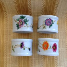 Takahashi Floral Porcelain Napkin Rings Set of 4 by BullfrogHollow