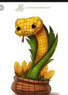 Corn on the Cobra by Cryptid-Creations, Funny Creature Design, Corn Snake… Cute Food Drawings, Cute Animal Drawings Kawaii, Kawaii Drawings, Cute Fantasy Creatures, Mythical Creatures Art, Cute Creatures, Cute Reptiles, Cute Snake, Creature Design
