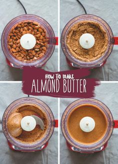 How to Make Almond Butter - homemade almond butter is much tastier than store-bought and extremely easy to make! You'll love making your own. Enjoy plain or try one of my recommended flavors! Homemade Almond Butter, Roasted Almond Butter Recipe, Vegan Butter, Snack Recipes, Cooking Recipes, Free Recipes, Vegetarian Recipes, Almond Recipes, Sauce