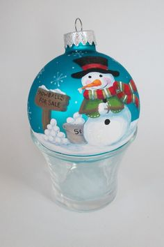 Hand Painted Christmas Ornament - Snowman.