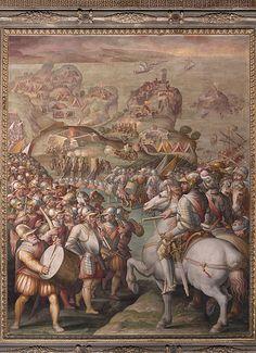 """""""Capture of Porto Ercole"""", Giorgio Vasari, 1568-1570, fresco painting, Salone dei Cinquecento, Mannerism, Italian painting of th XVI century"""