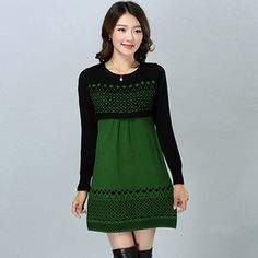 Women Cotton Knitted Casual Warm Dress