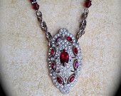 Gorgeous ruby red rhinestone brooch necklace-Vintage Assemblage Unique Crystal Necklace-Pave Ruby Clear Rhinestone Necklace-Antique Jewelry
