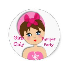 A fun sticker with a girl wearing turban on her hair. Just the thing for a girls pamper party, slumber party or similar girly event. Feel free to add your own text at no extra charge.