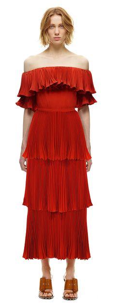 Flounced Off Shoulder Dress