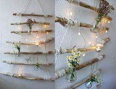 Decoration for the home: make driftwood furniture yourself shelf decorating lights . Decoration for the home: make driftwood furniture yourself Luminous driftwood wall hang Wood Crafts Furniture, Driftwood Furniture, Driftwood Crafts, New Furniture, Furniture Projects, Furniture Makeover, Furniture Design, Driftwood Wall Art, Decoration Table