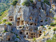 Rock tombs in Myra, Lycia, Turkey The preserved rock cut tombs in the ancient city of Myra were carved into cliffs and were a common form of burial for the wealthy.  Eerie but awesome at the same time. Picture: jiuguangw Source: Flickr