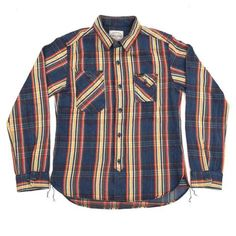 Studio D'Artisan Natural Indigo Check Work Shirt