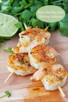 Spicy Honey Lime Shrimp Kabobs: marinated and glazed in a spicy honey lime sauce that is packed so full of flavor you will want to drink it - Eazy Peazy Mealz