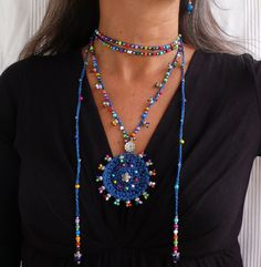Indigo azul TRIBAL MANDALA crochet boho collar de por PanoParaTanto