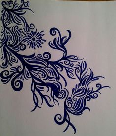 Blue .. done with gel pens - SF