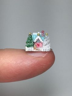 OOAK Miniature Dollhouse Cottage Christmas Putz Holly Allen Micro Glitter House   eBay