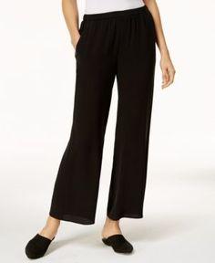 Eileen Fisher Silk Wide-Leg Pants - Black XS