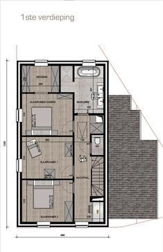 1e voorontwerp OB landelijke stijl | Bouwinfo Small House Plans, House Floor Plans, Small Villa, Flat Roof House, Architectural Floor Plans, Modern Villa Design, Apartment Floor Plans, Narrow House, Cabin Design