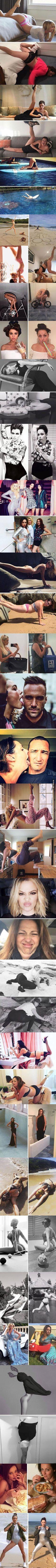 Woman reenacts celebrities photo