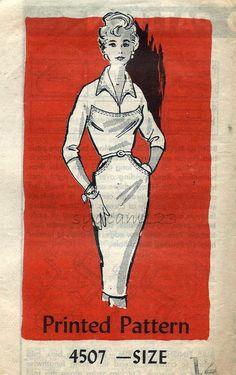 Vintage 1950s Wiggle Dress Pattern Curved Bodice by sydcam123, $22.00