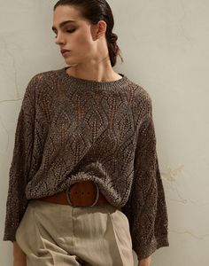 Linen and cotton sweater (211MAJ584900) for Woman | Brunello Cucinelli Classy Women, Brunello Cucinelli, Cotton Sweater, Cute Casual Outfits, Crochet Clothes, Lana, Knitwear, Sweaters For Women, Clothes For Women