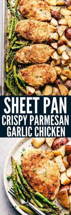 Lower Excess Fat Rooster Recipes That Basically Prime Sheet Pan Crispy Parmesan Garlic Chicken Is Such An Easy Meal With Crispy Breaded Chicken With Potatoes And Asparagus. This Is The Perfect Meal For Your Family One Pot Meals, Easy Meals, Sheet Pan Suppers, Chicken Potatoes, Parmesan Potatoes, Oven Potatoes, Hen Chicken, Roasted Potatoes, Breaded Chicken