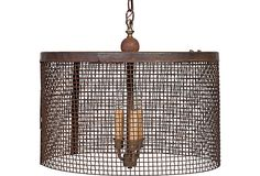 """Vintage industrial mesh cage chandelier with electrified candle lights. (899 from Haskell Antiques on OKL; retails 2400) 12""""H x 19""""Dia"""
