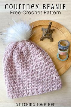 You'll love the Courtney Crochet Beanie Hat with rich texture and warmth. Visit to get the free crochet pattern and get started making your own hat today. Easy Crochet Hat, Crochet Beanie Pattern, Free Crochet, Knit Crochet, Crochet Patterns, Hat Patterns, Crochet Ideas, Crochet Headbands, Crochet Stitches