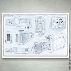 """Rey's Speeder Blueprint Schematics // Star Wars Force Awakens // 24"""" x 36"""" Star Wars Poster"""