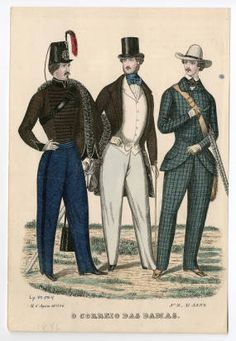 "Mens Wear 1830-1849, Plate 087. Fashion plates, 1790-1929. The Costume Institute Fashion Plates. The Metropolitan Museum of Art, New York. Gift of Woodman Thompson (b17509853)   This 1846 plate has a caption that reads ""O Correio das Damas"" #fashion"