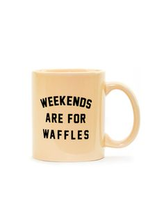 Our popular Weekends are for Waffles design is now available as a coffee, tea, or heck, even hot chocolate mug!  The Weekends are for Waffles traditional mug is made of ceramic composite and is a glossy almond color. Each side of the high quality, c-curved handle mug is screen printed with our Weekends are for Waffles graphic in the USA.   - Ceramic Composite material  - Traditional C-Curve Handle  - Screen Printed Weekends are for Waffles Graphic on Both Sides of Mug  - Almond Color…