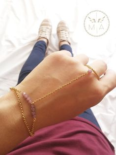 PULSERA DOBLE CON MURANO PURPURA Delicate, Bracelets, Gold, Jewelry, Fashion, Doubles Facts, Chains, Steel, Colombia