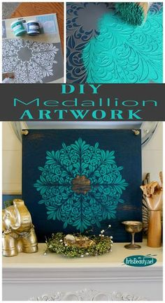 diy fleur medallion artwork from old shelf and paint and stencil boho chic bohemian decor