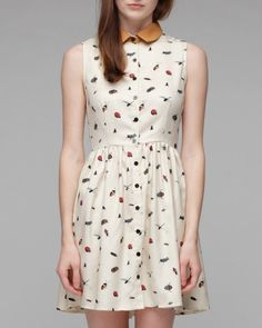 sometimes a girl just needs things like this! Dusen Dusen Collared dress in bug print