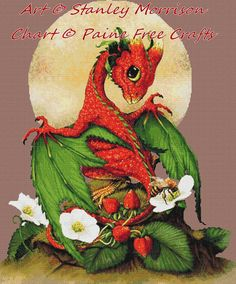 Strawberry Dragon  high quality printed by PaineFreeCrafts on Etsy