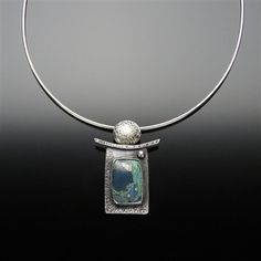 Sterling Silver Pendant With Leland Blue (Antique Foundry Glass)