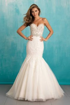 Allure 9305 | Designed with dramatic texture, this form-fitting gown features Swarovski beading, lace and sheer tulle. Gown available in White/Silver, Ivory/Silver, Light Gold/Ivory/Silver *Pictured in Light Gold/Ivory/Silver Gateway Bridal | Utah Wedding Dress | SLC | Wedding Inspiration | Wedding Dress Goals | Dream Wedding