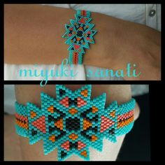 #miyukisanati #miyuki Native Beading Patterns, Beadwork Designs, Seed Bead Patterns, Native Beadwork, Jewelry Patterns, Seed Bead Jewelry, Beaded Jewelry, Peyote Stitch Tutorial, Seed Bead Projects