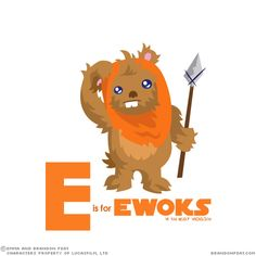 E is for Ewok Art by Emma & Brandon Peat