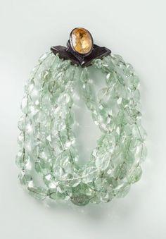 Monies Five Strand Quartz Necklace - $3595 - Citrine Stone, Ebony Clasp   Santa Fe Dry Goods