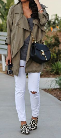 casual spring outfit: white distressed denim, lightweight jacket, leopard flats, and chloe bag
