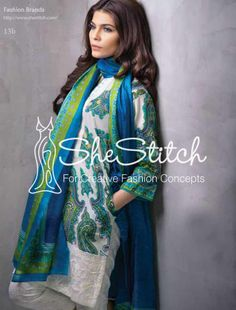 Price: $76 - Design 13b by Sana Safinaz latest lawn collection is three-piece suit consisting of fabulous contrast