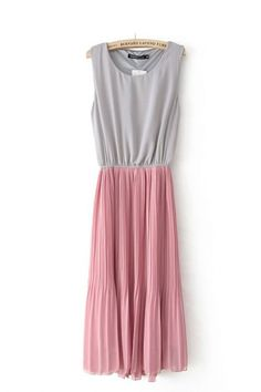 Pink Patchwork Pleated Hollow-out Sleeveless Chiffon Dress Cute Bridesmaid Dresses, Cute Dresses, Dresses For Sale, Cute Outfits, Bridesmaids, Chiffon Dress, Dress Skirt, Pleated Skirt, Modest Fashion
