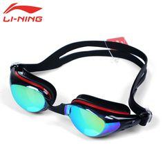 LI-NING-1.5 ~-6.0 안티 안개 다시 UV 근시 수영 고글 여성 남성 전문 방수 디옵터 수영 안경 LSJK519-7