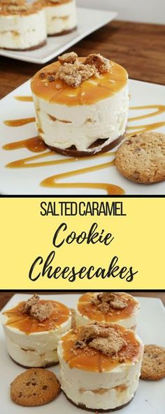 Create these no-bake cheesecakes using salted caramel cookiesSalted Caramel Cookie Cheesecake recipe. Create these no-bake cheesecakes using salted caramel cookies Cheesecake Caramel, Salted Caramel Cookies, Cheesecake Cookies, Cheesecake Recipes, Salted Caramels, Desserts Caramel, Classic Cheesecake, Homemade Cheesecake, Homemade Snickers
