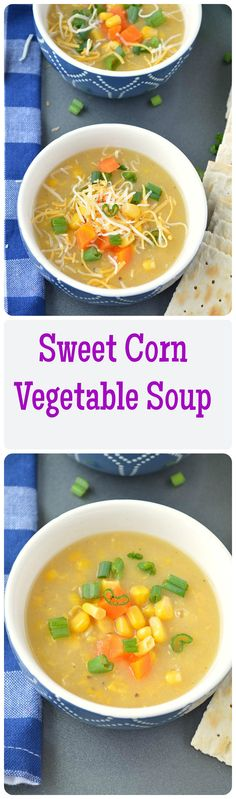 Hearty sweet corn vegetable soup is a healthy and delicious way to warm up on a cold wintry evening!! This soup is packed with flavor and so easy to put together, and without a doubt, amazingly tasty, soul comforting and very filling.