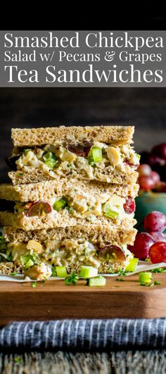 Smashed Chickpea Salad with Pecans and Grapes - Vanilla And Bean