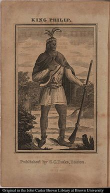 Metacomet (ca. 1639 – August 12, 1676), also known as King Philip or Metacom, or occasionally Pometacom, was a war chief or sachem of the Wampanoag Indians and their leader in King Philip's War, a widespread Native American uprising against English colonists in New England.