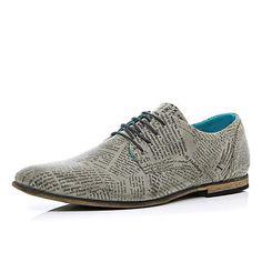 Grey newspaper print formal shoes $120.00